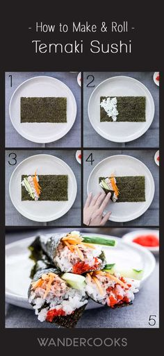 How To Roll Temaki Sushi (Easy Hand-Rolled Sushi) Recipe - A simple way to easily roll your sushi, so it's ready to eat in seconds! Diy Sushi, Homemade Sushi, Sushi Roll Recipes, Fish Recipes, Oshi Sushi, Hand Roll Sushi, Sushi Fillings, Sushi Wrap, Sushi Recipes