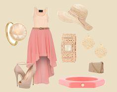 """coral summer"" coral, cute, summer, high low skirt, fashion, stylish, big hat"