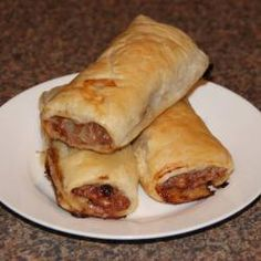 My mum has been making these sausage rolls for years and always gets compliments. I have added onion, carrot, bread crumbs and bbq sauce but they are even easier and great without! Easy Sausage Roll Recipe, Homemade Sausage Rolls, Australian Sausage Roll Recipe, Sausage Meat Recipes, Pork Recipes, Mince Recipes, Australian Food, Australian Recipes, Aussie Food