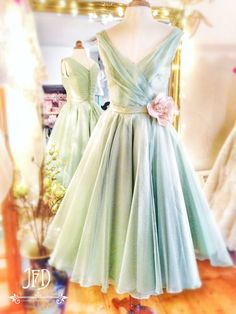 Joanne Fleming Design; mint green and soft pink silk organza tea-length 'Samantha' wedding dress