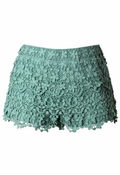 Floral Crochet Shorts in Teal #chicwish