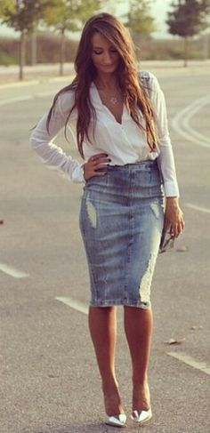 8d463769b distressed denim pencil skirt with white shirt and silver pumps. ☆ Love ☆  ❤♔Life, likes and style of Creole-Belle ♥