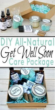 Treat a cold or flu with all-natural products! Here's how to make a DIY all-natural get well soon care package (with free printable labels)!