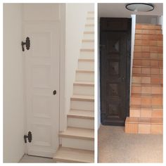 BEFORE/ AFTER: Remodel of stairs Countryside, Tall Cabinet Storage, Garage Doors, Stairs, Outdoor Decor, House, Furniture, Home Decor, Stairway