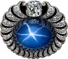 Natural Blue Star Sapphire Brooch, Gold, Platinum, and diamonds, ca.1908〜1917, Made by Bolin, jeweler to the a imperial Russian Court Russia.