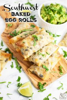 These Southwest Baked Egg Rolls will be the hit of your party! This easy and healthy appetizer is full of ground turkey, baked, and served with guacamole. Desserts For A Crowd, Winter Desserts, Food For A Crowd, Party Desserts, Party Recipes, Hot Fudge Cake, Hot Chocolate Fudge, Healthy Appetizers, Appetizer Recipes