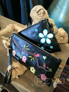 shagwear clutch purses - bird town and funky flower