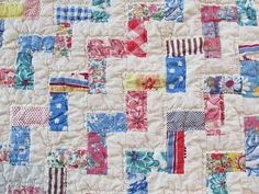 Excellent Vintage 1950s Feedsack Prints Rail Fence Quilt Clean Fresh Tiny Pcs | eBay Vintageblessings