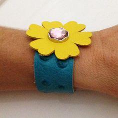 Yellow flower leather bracelet cuff by ChristyKeysCreations, $9.00