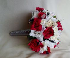 Red silver Wedding Bouquets Red white roses by AmoreBride on Etsy,