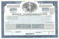 Sony Stock Certificate