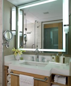 Big Bathroom Mirror Trend In Real Interiors Integrity Led Lighted Bathroom Mirror Electric Mirror intended for [keyword Led Bathroom Lights, Mirror With Led Lights, Lighted Mirror, Bathroom Mirrors, Mirror Tv, Electric Mirror, Big Bathrooms, Mirror Cabinets, New Homes