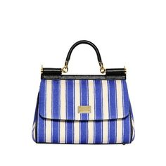 DOLCE & GABBANA Small Miss Sicily Striped Canvas Bag ($1,725) ❤ liked on Polyvore