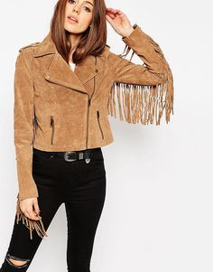ASOS Biker Jacket In Suede With Fringing | Pretty Little Liars