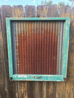 Reclaimed Old Window Rusty Salvaged Barn Tin by Old Window Projects, Metal Projects, Crafty Projects, Old Window Frames, Window Art, Window Ideas, Barn Tin, Barn Wood, Old Windows