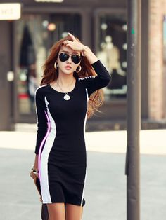 Black Round Neck Cotton Patchwork Long Sleeve Dress