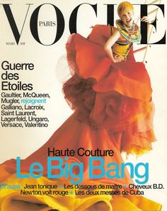 the-moustached-king: 'Cover', Kylie Bax by Michael Thompson, Vogue Paris March Christian Dior Spring Summer 1997 Haute Couture Vogue Magazine Covers, Vogue Covers, Vogue Paris, Cuba, Dita Von Tees, Kylie, Versace, Mcqueen, Valentino
