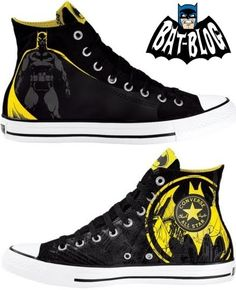 Batman Converse - a pair my son owns! He's trying to get them all, and any future wife will have a man taught the importance of shoes! Batman Converse, Batman Shoes, Converse Sneakers, High Top Sneakers, Batman Outfits, Cheap Converse, Converse Logo, Custom Converse, Cute Shoes