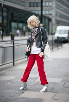 London Fashion Week Street Style Spring 2017: RED/SILVER/ BLACK LEATHER See All the Best Looks | StyleCaster