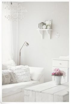 The effects of white in a room can resemble putiry and lightness.