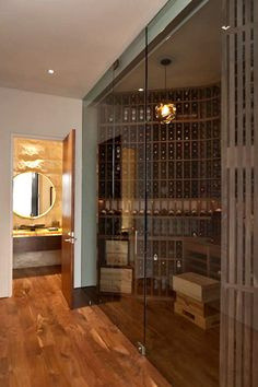 Wine cellar outside of powder room. Check.