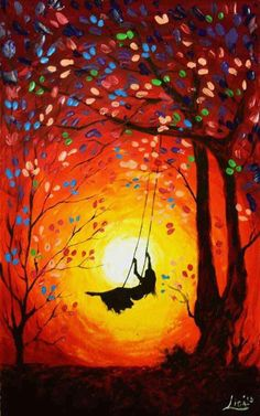 Lady on a tree swing swinging high into the sunset. Colorful trees prophetic art.