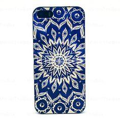 Sun azul Flores Padrão Hard Case para iPhone 5/5S