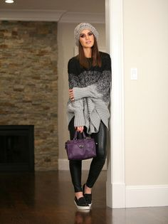 Sweater: Michael Kors / Legging: Zara / Slip On: Carmen Steffens / Bolsa: Coach / Gorro: Calimare