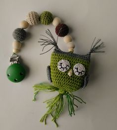 Crochet baby pram owl mobile/stroller hanger/crochet teething toy/green brown gray owl/baby shower gift/pram decor