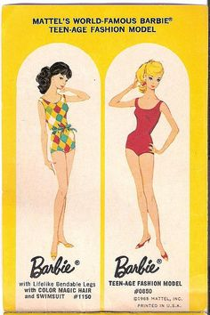 1965 Mattel BL Page - Barbie - Color Magic and Fashion Model. The one on the left was my very first Barbie. I remember coloring her hair and that godawful swimsuit. I was four!