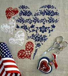 106 shows all in red, 106A is red, white & blue - same pattern, just different way to stitch colors.