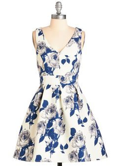 Kiss from a Prose Dress. Inspired by an afternoon spent in your blooming backyard, you wear this whimsically printed dress to tonight's reading. #gold #prom #modcloth