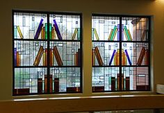 Stained glass window design with books on shelf. I would love to have this in my home! Stained Glass Panels, Stained Glass Art, Mosaic Glass, Fused Glass, Beveled Glass, Blown Glass, Stained Glass Projects, Stained Glass Patterns, Window Design