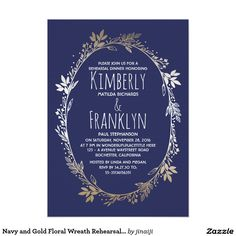 Navy and Gold Floral Wreath Rehearsal Dinner
