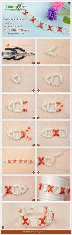 Seed Bead Bracelet Tutorial-Make Your Own Simple Beaded XOXO Bracelet