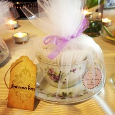 Tea cup wedding favor! The best favor I've received at a wedding so far :) she put little heart shaped biscuits and a tea bag inside the cup too!