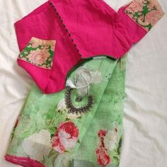 Shop online our exclusive handpicked saree collections with ready wear MAGIL blouses Half Saree Designs, Simple Blouse Designs, Saree Blouse Neck Designs, Stylish Blouse Design, Pattern Blouses For Sarees, Designer Blouse Patterns, Dress Patterns, Pattern Dress, Jute