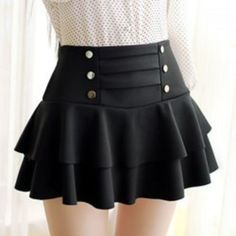 Solid Color High-Waist Layered Skirt