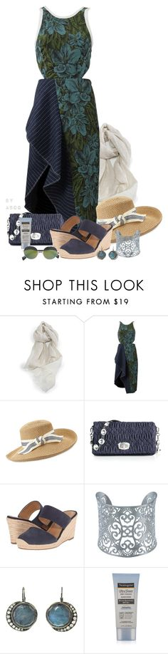 """3.1 Phillip Lim Floral Cut-out Cascade Dress"" by karen-of-abog ❤ liked on Polyvore featuring Libeco Home, 3.1 Phillip Lim, Eric Javits, Miu Miu, Franco Sarto, Kabella Jewelry, Blackbird and the Snow, Neutrogena and Yohji Yamamoto"