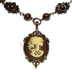 Steampunk Goth Jewelry - Necklace - Ivory on Brown Skeleton Lolita portrait Cameo by CatherinetteRings, $60.00