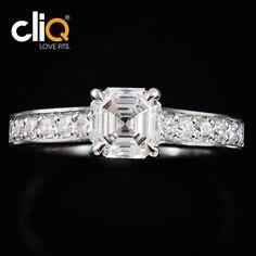 asscher cut diamond engagement ring in platinum #lovefits #beplatinum