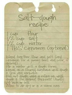 Salt dough recipe For ornaments!  Little ones can create ornaments that loved ones will proudly display on their tree for years.