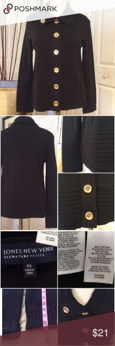 Jones NY Navy Cardigan Beautiful Large Gold Buttons, Excellent Condition, No Flaws. Jones New York Sweaters Cardigans