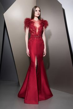 the-fashion-dish: vikylia-sapiente: Ziad Nakad Haute Couture… Haute Couture Dresses, Couture Fashion, Evening Dresses, Prom Dresses, Feather Dress, Red Gowns, Types Of Dresses, Beautiful Gowns, Elegant Dresses