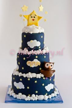 LOVE LOVE LOVE this cake - instead of dark blue, we could soften up the color a bit and maybe do a pink fairy instead of an owl