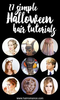 Looking for a last-minute Halloween costume idea? Try these simple Halloween hairstyles. You'll find links to all the tutorials below too.