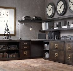 Vintage Industrial Decor Have Elizabeth make this Industrial Modular Office Corner Desk System - Industrial Office Space, Industrial Home Offices, Industrial Desk, Vintage Industrial Furniture, Home Office Space, Industrial Interiors, Home Office Decor, Industrial Style, Industrial Lighting