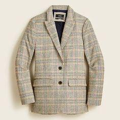 J.Crew: Sommerset Blazer In Glen Plaid English Wool For Women Glen Plaid, Plaid Pants, Work Looks, Menswear, Organic Cotton, Textiles, Wool, Tees, English