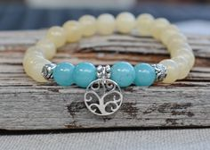 Sterling Silver Tree of Life Charm Bracelet with Yellow Jade Stones
