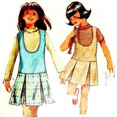 Gloria - Girls Jumper w Low Scooped Neck/ 1960s Pattern/ sz 7/ Low Waistline
